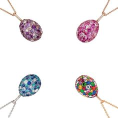 A perfect companion to Fabergé's egg charms, these beautifully crafted egg pendants are available in a range of colours, including pink, purple, blue and multi-coloured. Discover the bejewelled eggs for a jewellery studded easter: http://www.thejewelleryeditor.com/jewellery/article/easter-jewels-more-mouth-watering-than-chocolate-tiffany-faberge/ #jewelry