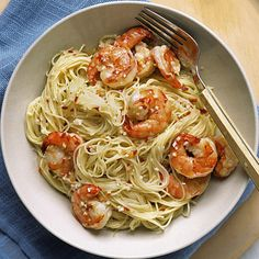 Angel hair with spicy shrimp-My friend makes this and says it is a great easy meal. She adds a little more pasta than recipe calls for. I might even try with cellophane noodles.