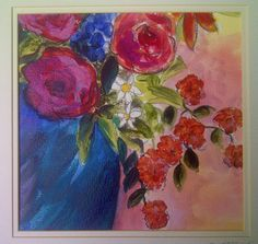 Fine art painting Blue Vase Red rose Floral by RoxInABoxByDi, £28.64