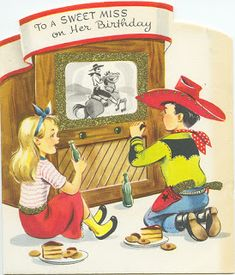 Here are a heap o' cowboy/cowgirl images for you to print and use on your cowboy tag. Some are repe. Vintage Birthday Cards, Birthday Greeting Cards, Birthday Greetings, Retro Birthday, 9th Birthday, Birthday Ideas, Birthday Cake, Vintage Ephemera, Vintage Cards