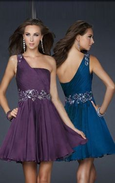 Pertty One Shoulder Chiffon A-line Short Formal Dresses #promdress  #FormalDresses #SemiFormalDresses