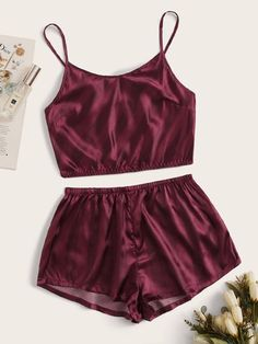 ((AffiliateLink)) Style: Elegant Color: Burgundy Pattern Type: Plain Neckline: Spaghetti Strap Type: Short Sets Sleeve Length: Sleeveless Composition: Polyester, Spandex Material: Polyester Fabric: Fabric has no stretch Sheer: No Belt: No Lining: No Cute Pajama Sets, Cute Pjs, Pj Sets, Sexy Pajamas, Cute Pajamas, Satin Pajamas, Cute Sleepwear, Sleepwear Women, Jolie Lingerie
