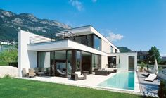railing matches windows, lap pool, white w/stone