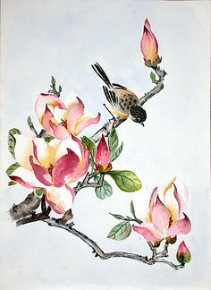 ArtQuid is a global online art marketplace allowing to buy Original Art and Prints (Canvas Prints, Acrylic Prints, Alu Dibond Prints, Fine Art Prints, Posters) directly from artists around the world. Japanese Painting, Japanese Art, Watercolor Flowers, Watercolor Paintings, Bird Artwork, Pintura Country, China Art, China Painting, Vintage Diy