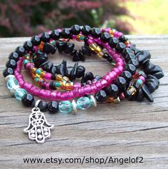 Midnight Garden  Bohemian Hippie Stretch Bracelets by Angelof2, $26.50