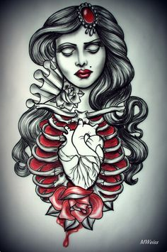 flash tattoo - rib cage anatomical heart tattooed lady. black white and red