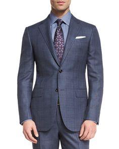 Trofeo 600 Plaid Two-Piece Suit, Blue, Men's, Size: 52S (41S US) - Ermenegildo Zegna