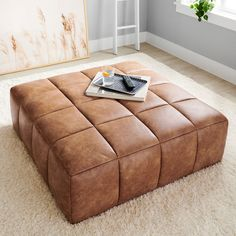Ottoman In Living Room, Living Room Decor, Couch With Ottoman, Ottoman Decor, Living Room Seating, Leather Ottoman Coffee Table, Large Leather Ottoman, Tufted Leather Ottoman, Leather Couches