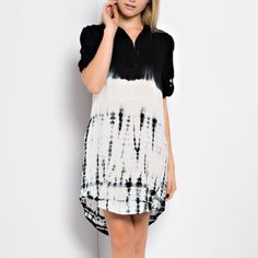 """""""Order"""" Tie Dye Tunic or Dress Black and white tie dye tunic or dress. Pair with leggings or a suede vest and booties. Very versatile piece. True to size. Brand new. Price firm. NO TRADES. Bare Anthology Tops Tunics"""