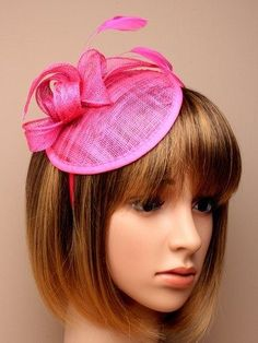 42f8be9a Hot pink hessian hatinator with loops and feather tendrils. Fascinator set  on.