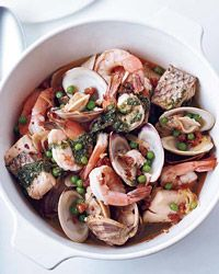 Ligurian Seafood Stew     Easy Way Narrow the ingredient list to the delicious basics—shrimp, sea bass and clams. Use bottled clam broth as a stand-in for mussel broth and flavor it with spicy chorizo.    Recipe from Food & Wine