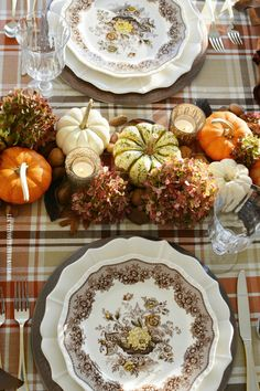 Fall Table with Transferware, Plaid and Organic Centerpiece Table Runner with Pumpkins and Hydrangeas Thanksgiving Home Decorations, Thanksgiving Tablescapes, Holiday Tables, Diner Table, Beautiful Table Settings, Napkin Folding, Fall Table, Fall Decor, Hydrangeas