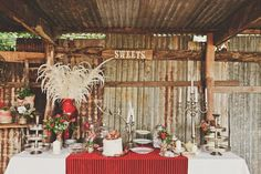 Vintage Organic Australian Wedding - locals to Byron Bay, a gorgeous dessert station ready for the sweets, styled by Jane Magnus BBW