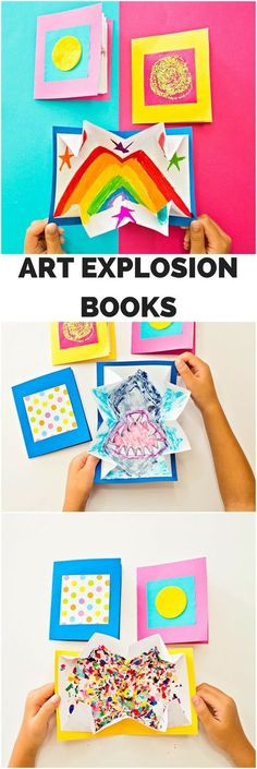 DIY Art Explosion Books. Fun kids art project #kidsartscraft #KidsCrafts #kidsart #kidsartwork