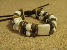 Bracelet d'os et bois de noix de coco style Tribal, Primitif. Bracelet Homme ou Femme. Mountain man. Coureur des bois