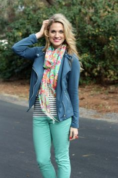 Flowery scarf, striped shirt, coloured denim jeans, jacket