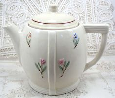 Porcelier Vitreous Hand Decorated Teapot Vintage :