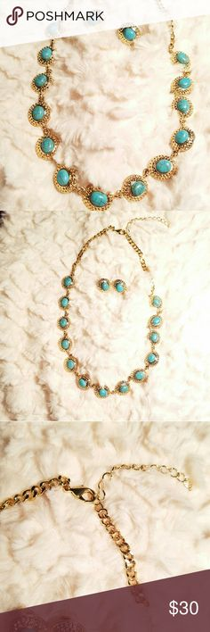 BEAUTIFUL TURQUOISE & GOLD TONE NECKLACE & EARRI This is a beautiful statement necklace set.  Brand New (NWOT) comes with box. Jewelry Necklaces