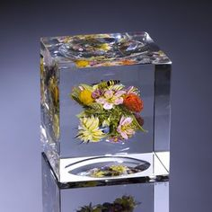 2016; Floral Bouquet Cube with Honeybee; H. 3.0 inches x W. 3.0 inches x D. 3.0 inches