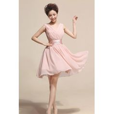Fashion Lovely Ruched V Neck Sleeveless Pink Chiffon Princess Knee Length Bridesmaid Dress_Bridesmaid Dresses_Weddings_Wedding & Events_Cheap Clothes,Cheap Shoes Online,Wholesale Shoes,Clothing On lovelywholesale.com - LovelyWholesale.com