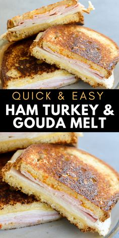 This Ham, Turkey and Gouda Panini is loaded with deli meat, melted cheese and a spicy chipotle sauce! This quick and easy panini recipe can be made in under 10 minutes for a quick lunch or dinner!  #panini Sandwiches For Lunch, Turkey Sandwiches, Sandwich Recipes, Quick Dinner Recipes, Wrap Recipes, Breakfast Recipes, Quick Meals, Easy Recipes, Easy Cooking