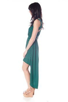 Chevron Pattern High Low Maxi with Open Back - Green from Casual & Day at Lucky 21 Lucky 21