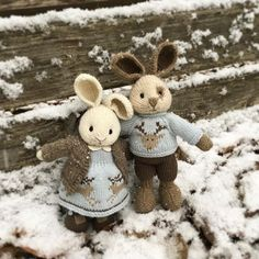 Little Cotton Rabbits Knitted Stuffed Animals, Knitted Bunnies, Knitted Animals, Knitted Dolls, Crochet Toys, Knitting For Kids, Knitting Projects, Crochet Projects, Rabbit Toys