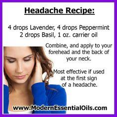 Essential oil recipe for headache remedy