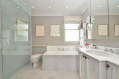En Suite Bathroom_carrara marble floor, bespoke panelling