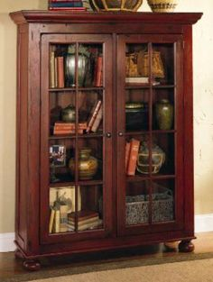 Broyhill Attic Heirlooms Library Cabinet In Red Stain ❤️