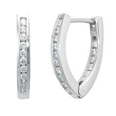 Diamond In And Out Hoop Earrings