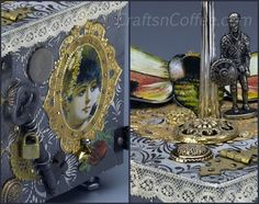 A vintage, steampunk craft with mixed media elements