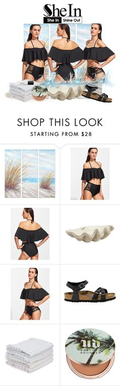 """Black Halter Ruffle Ladder Cutout Bikini Set"" by sandraa-jwoww ❤ liked on Polyvore featuring Yosemite Home Décor, Jayson Home, Birkenstock, IGH and Urban Decay"