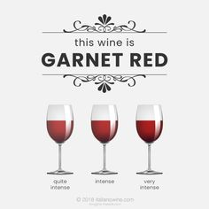 """Let's describe wine """"Garnet red"""" The garnet red color, if not intense, remembers the color of a pomegranate. It is found in the most evolved wines, of good texture, usually matured and aged. Red Garnet, Ruby Red, Italian Wine, Wine Tasting, Pomegranate, Wines, Red Wine, Wine Glass, Alcoholic Drinks"""