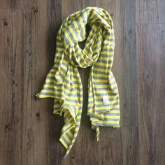Madewell scarf Yellow and grey striped jersey scarf from Madewell. Pre-loved, in excellent condition! Madewell Accessories Scarves & Wraps
