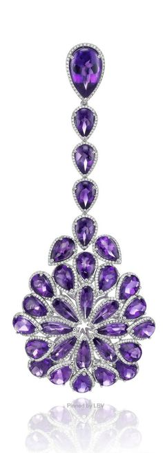 CLOSE UP: Earrings in 18k white gold set with 62 Amethysts (33carats), Chopard Red Carpet Collection 2014 Earrings.