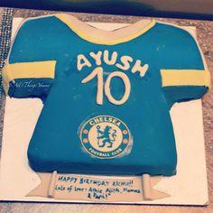 Birthday Cakes for Boys - Chelsea Jersey Themed and Shaped Cake for a 10 Year Old Soccer Fan | All Things Yummy |  #chelsea #fan.. #jersey #jerseycake #blueandyellow #bluejersey #football #soccerfan #soccer #yellow #cake #atyummy