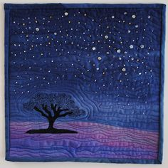 "Starry Nights 12 x 12"" art quilt by Judy Warner"