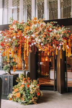 The Early Hours team's latest Autumn seasonal displays around London for the city's most iconic restaurants and shop fronts. Flower Installation, Festival Lights, Tropical Plants, Floral Arrangements, Decoration, Fall Decor, Beautiful Flowers, Wedding Flowers, Bloom