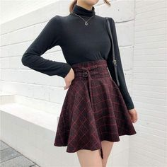 plaid pleated ball gown high waist lace up wool skirt bottom skirts womens sunlify free Red Skirts, Wool Skirts, Cute Skirts, Plaid Skirts, High Waisted Plaid Skirt, Short Skirts, Plaid Wool Skirt, Waist Skirt, Black Skirt Outfits
