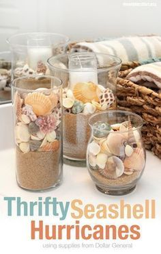 Beachy Summer Bathroom makeover thanks to and Dollar General. diy bathroom decor Beachy Summer Bathroom Makeover + FREE Bathroom Printable - How to Nest for Less™ Seashell Bathroom Decor, Seashell Crafts, Beach Crafts, Diy And Crafts, Beachy Bathroom Ideas, Seashell Decorations, Sea Theme Bathroom, Seashell Display, Beach Centerpieces