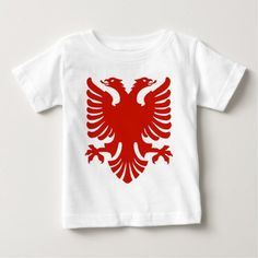 Shqipe - Double Headed Griffin Baby T-Shirt Kosovo Flag, Stylish Baby, Baby Shirts, Basic Colors, Flags, Kids Outfits, Mens Tops, T Shirt, Supreme T Shirt