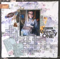 Crossword Puzzle Inspired Scrapbook Layout by Kerry Engel Couple Scrapbook, 12x12 Scrapbook, Scrapbooking, Sunflower Pattern, Heartfelt Creations, Monthly Challenge, Crafty Craft, Crossword, 21st Birthday