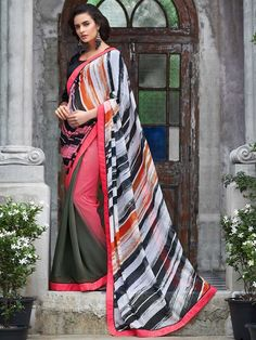 Red Shaded Multicolor Partywear Saree