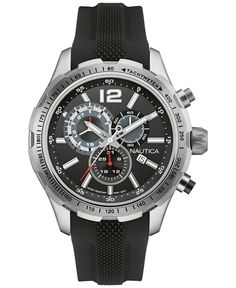 A sport watch from Nautica in the classic-cool look of black and silver. | Black silicone strap | Round stainless steel case, 45mm, tachymeter scale | Black chronograph dial with silver-tone luminous