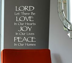 Vinyl Wall Lettering Lord Love Heart Joy Peace Home Religious Quote Christian Decal