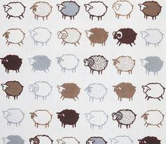 Baa Baa Black Sheep - Brown and White - Kiyohara | Fabric | Japanese Fabric | Maigo