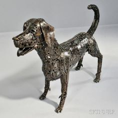 Eric Jupp Brutalist Dog Sculpture Scrap metal Swedish sculptor working in Thailand, 21st century Welded in the form of a l