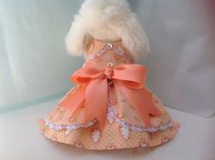 Peach Ruffled Pinafore Dog Dress Ready to Ship Now by princessamee