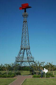 Discover Texas Eiffel Tower in Paris, Texas: In Paris, Texas they have their own Eiffel Tower, it just has a cowboy hat on it. Tour Eiffel, Paris Eiffel Tower, Eiffel Towers, Paris Las Vegas, Texas Roadtrip, Paris At Night, Paris Texas, Paris Photography, Roadside Attractions